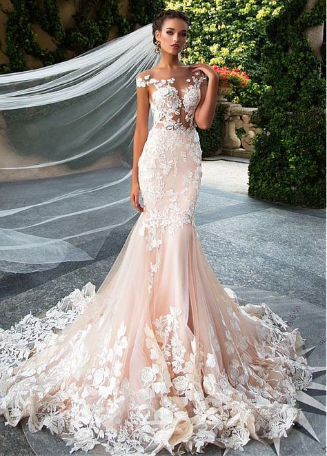 Glamorous Tulle Jewel Neckline See-through Bodice Mermaid Wedding Dresses With L…