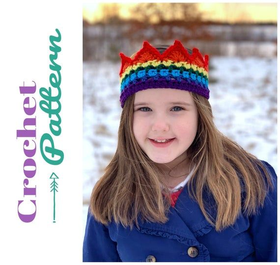 Crochet Patterns, Rainbow Crown Crochet, Rainbow Baby Birthday Gift, Rainbow Crochet, Baby Headband, #crownscrocheted
