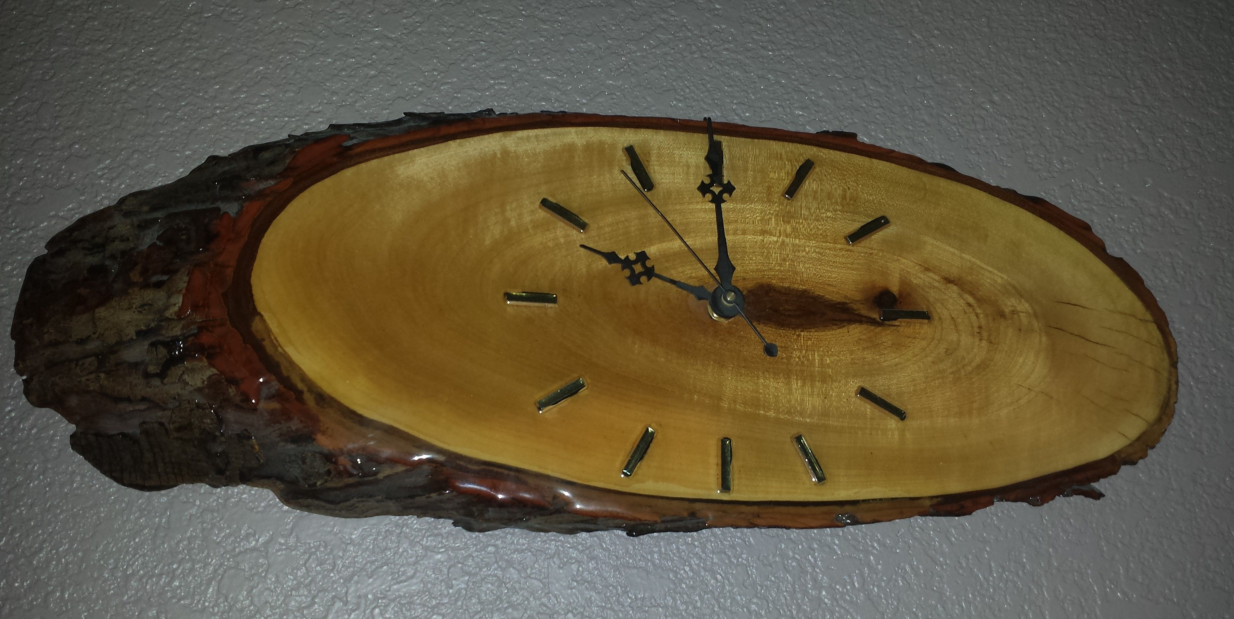 wood clock handcrafted made out of real solid wood plaque covered