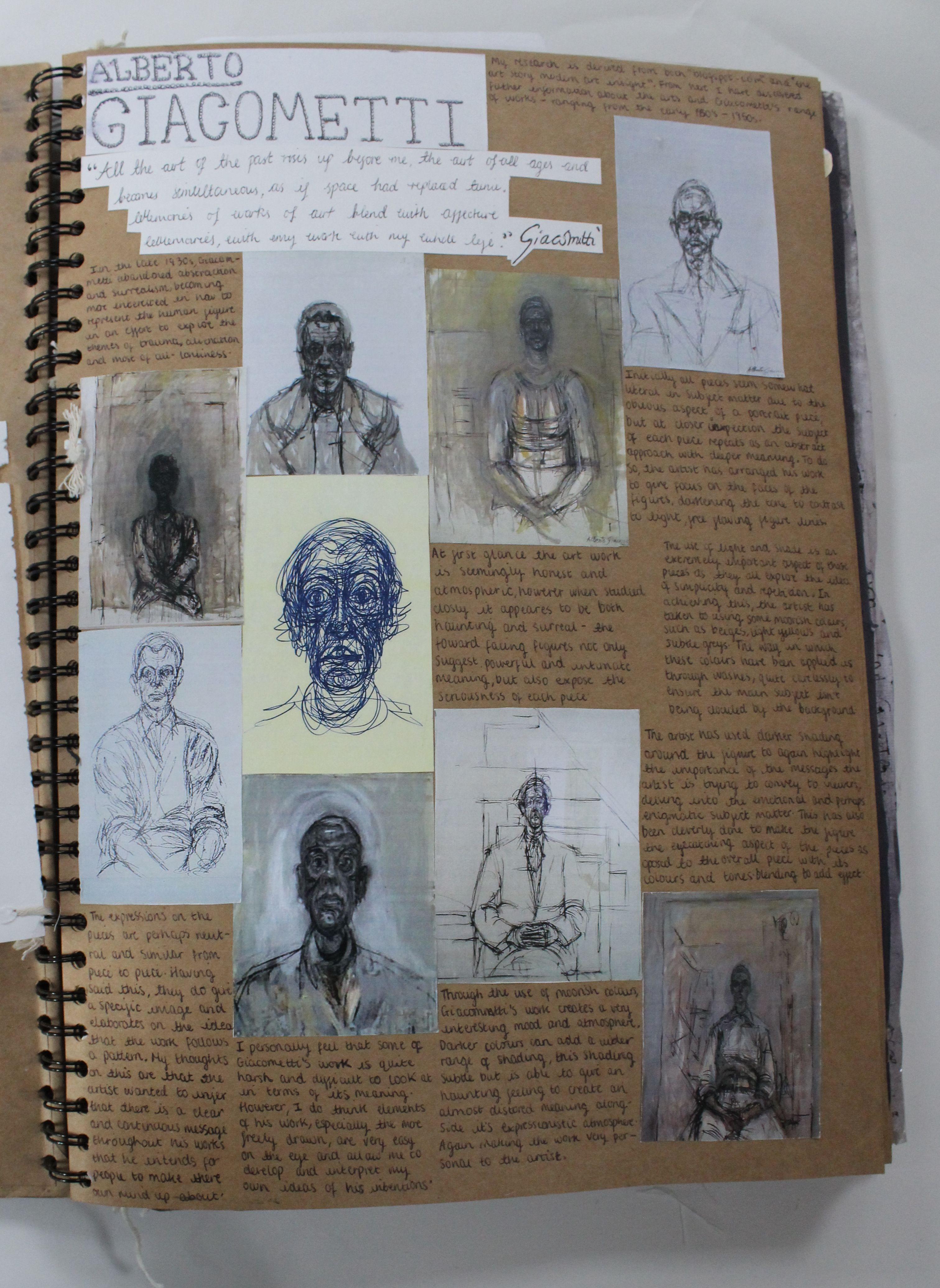 Al Fine Art A3 Brown Sketchbook Artist Research Cswk