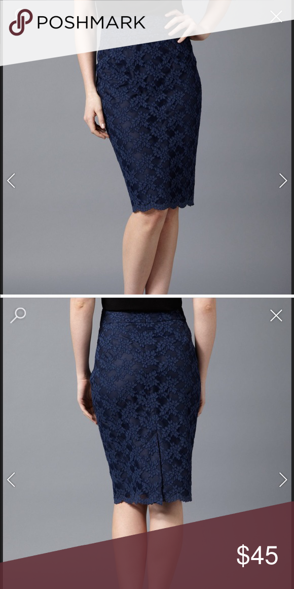 173976c5facbc Uniqlo • Navy Blue Lace Pencil Skirt XS NWT Brand new with tags. Size XS.  Uniqlo Skirts Pencil