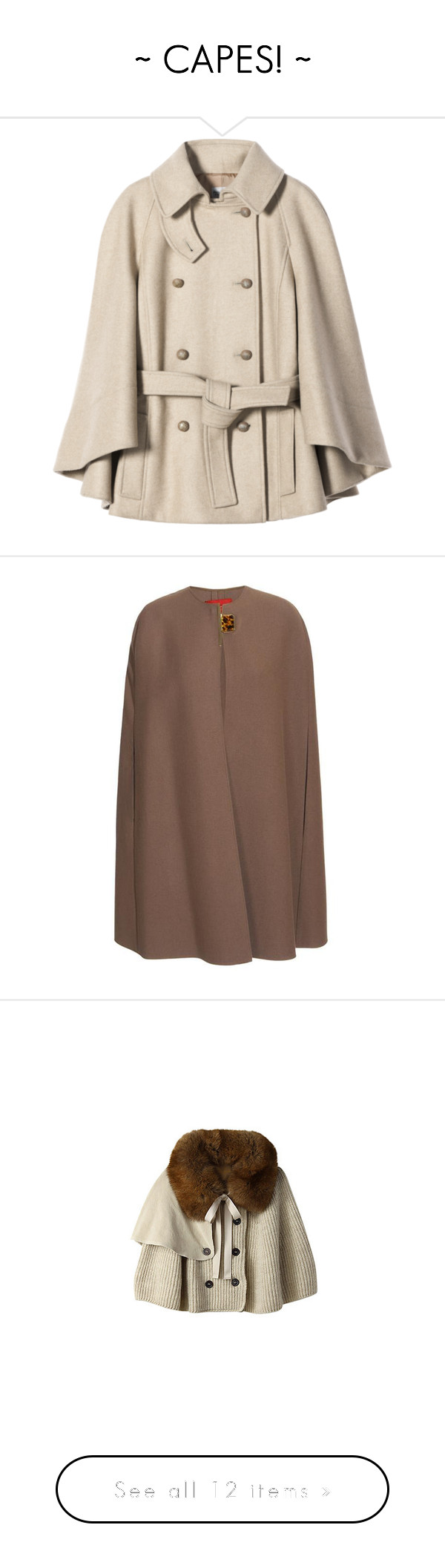 """""""~ CAPES! ~"""" by melyjelly ❤ liked on Polyvore featuring outerwear, coats, jackets, tops, fnoshop, short coat, philosophy di alberta ferretti, philosophy di alberta ferretti coat, short cape and pink cape"""