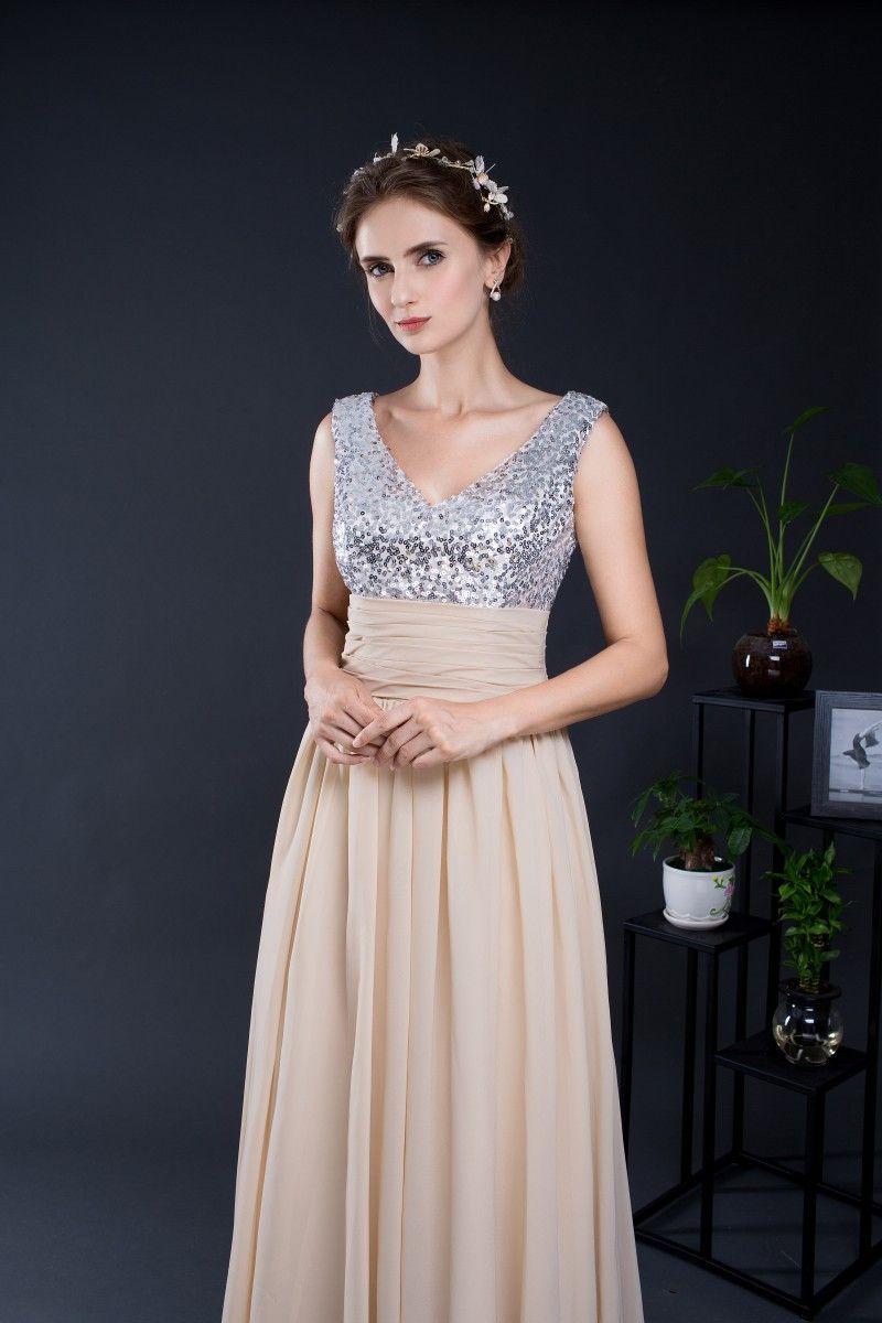 A-Line V-Neck Top Sequined Chiffon Long Bridesmaid Dress - Uniqistic.com