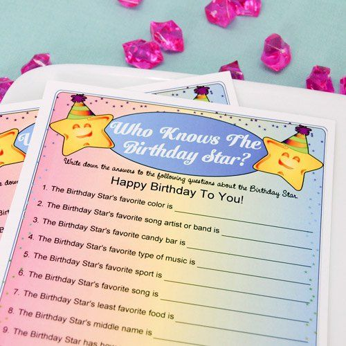 """Personalized """"Who Knows The Birthday Star?"""" Game"""