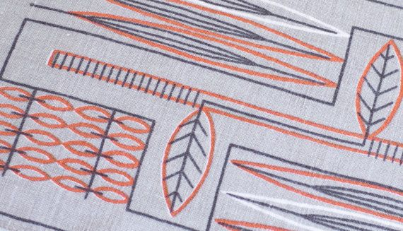 Scandinavian Mid Century Danish Modern Tablecloth Gray Orange 1950s