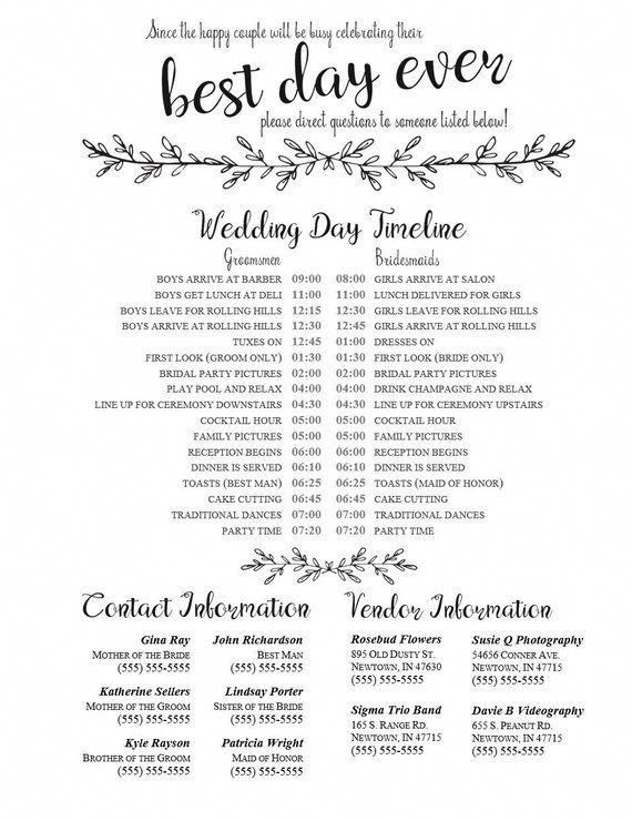 Editable Wedding Timeline  Edit in Word  Phone numbers and timeline  Day of Wedding Schedule