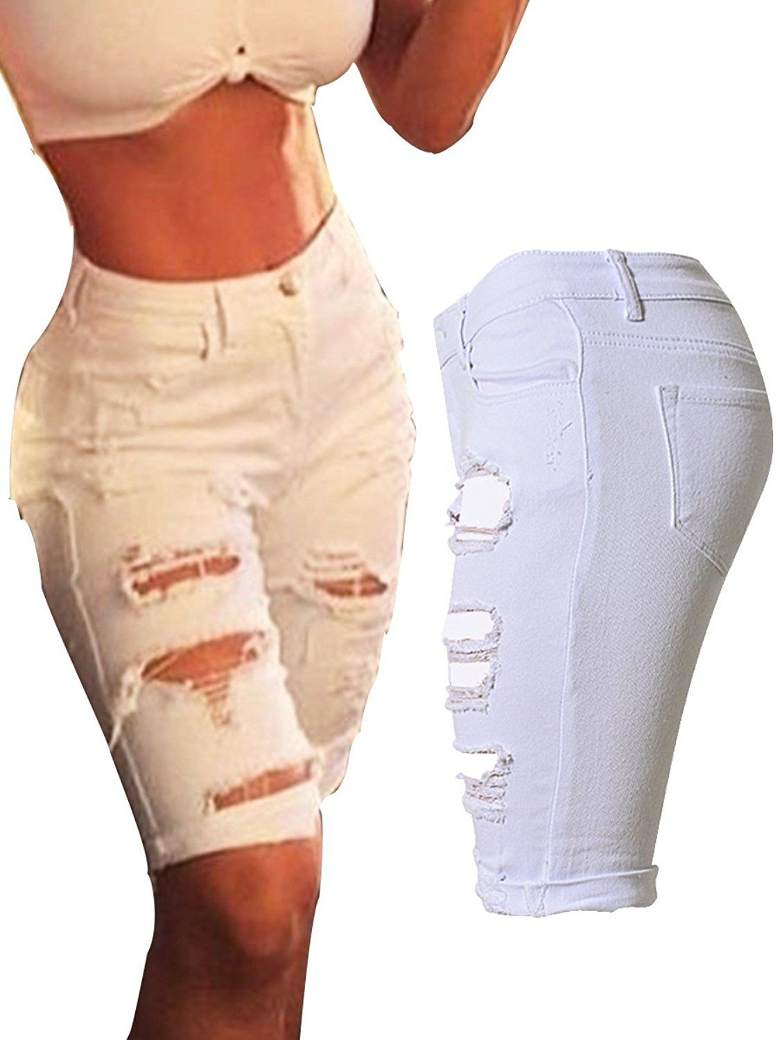 7c9eb11737 LANFEI Womens Ripped Distressed Denim Knee Length Shorts Jeans >>> Hurry!  Check out this great product : white dress