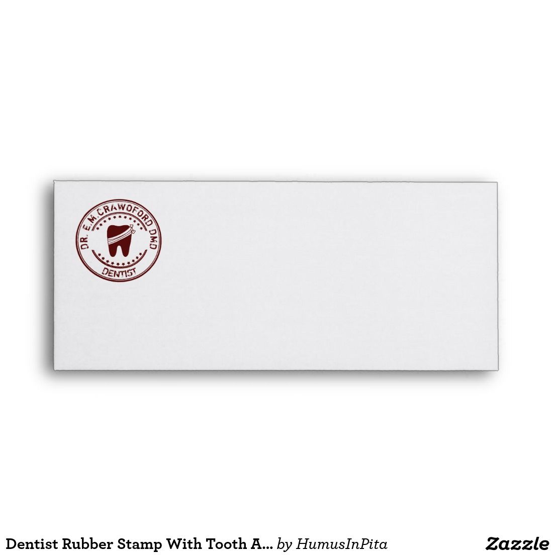 Dentist Rubber Stamp With Tooth And Your Name Envelope