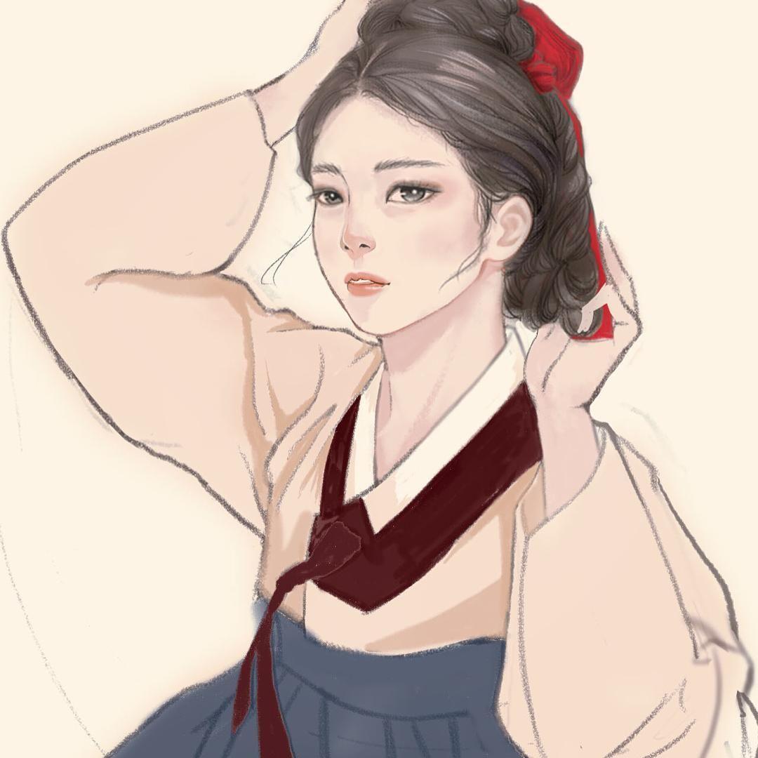 궁녀 한복 그림 일러스트 한복그림 한복일러스트 한복 Pinterest Inspiration