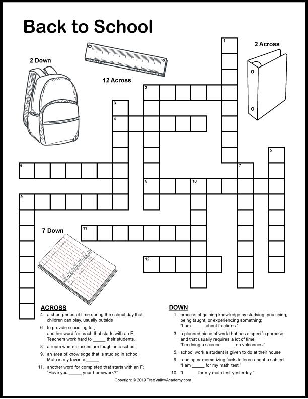 Back to School Crossword Puzzles   Homeschool   Free