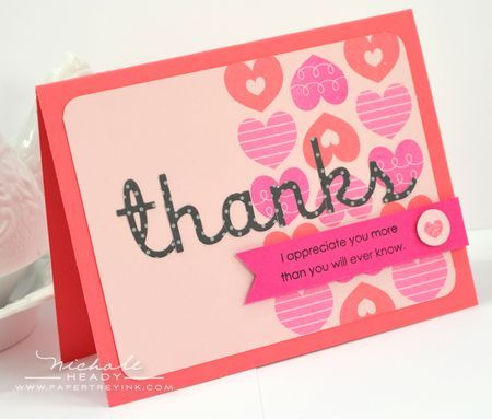 Heart-To-Heart Thanks Card by Nichole Heady for Papertrey Ink (April 2012)