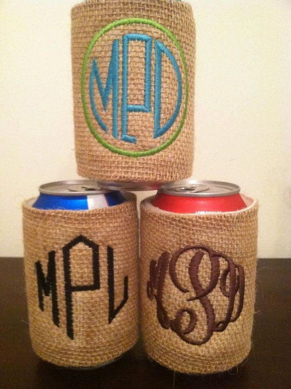 Burlap Monogram Koozie..PLEASE. Bridesmaid gift??? :)