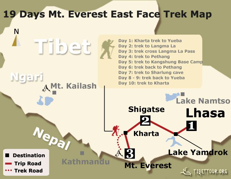19 Days Mt. Everest East Face Trek Map | Tibet Trekking Tour ...