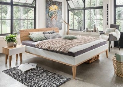 Schlafzimmer Einrichtungstipps ~ Massivholzbett #schlafzimmer #weiß #zweifarbig #bett #massiv