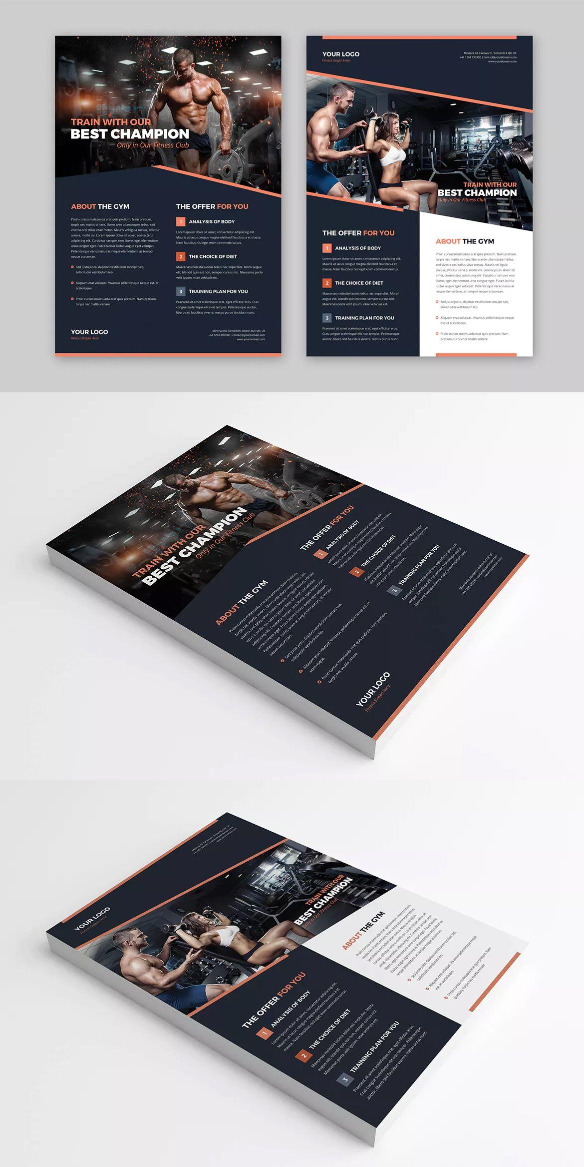 Gym Flyer Template PSD - A4 | Flyer Templates | Magazine layout