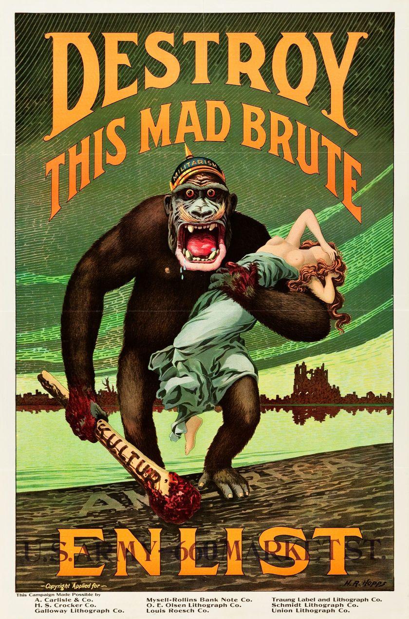 Movie Posters War World War I Propaganda U S Government 1917 Recruitment Poster 28 X 42 Destroy Thi Wwii Posters Patriotic Posters Propaganda Posters