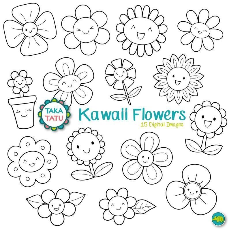 Kawaii Flowers Digital Stamp Black And White Clipart Kawaii Spring Clip Art Cute Flowers Clip Art Flower Printable Kawaii Clip Art Digital Stamps Clip Art Flower Clipart Printables