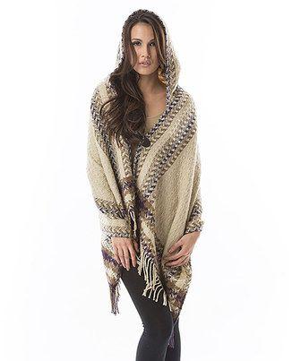 Loving this Aziza Taupe & Cream Geometric Fringe Hooded Poncho on #zulily! #zulilyfinds