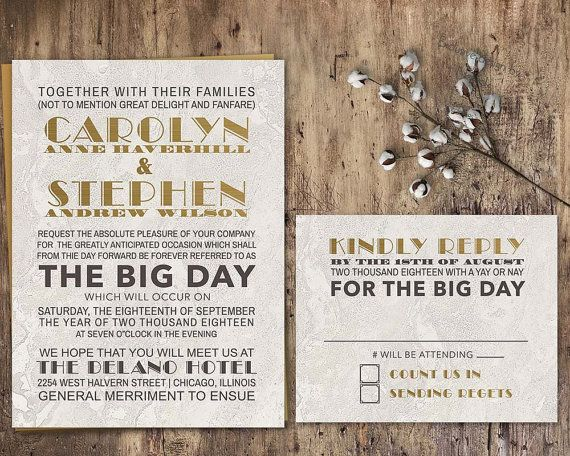 Industrial Chic Wedding Invitation Set Gold Charcoal Vintage Chic - fresh invitation template mac