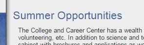 Career Center - Summer Opportunities LIST
