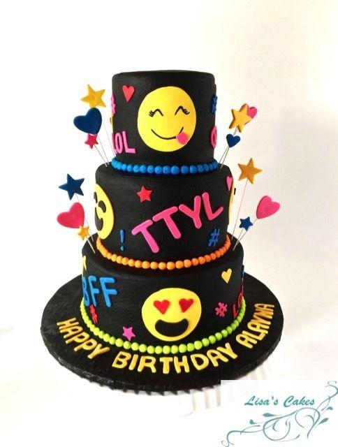 Buttercream Iced Emoji Themed Birthday Cake