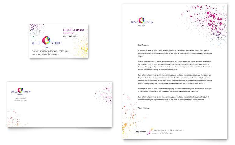 KidS Dance Studio Business Card  Letterhead Template Design