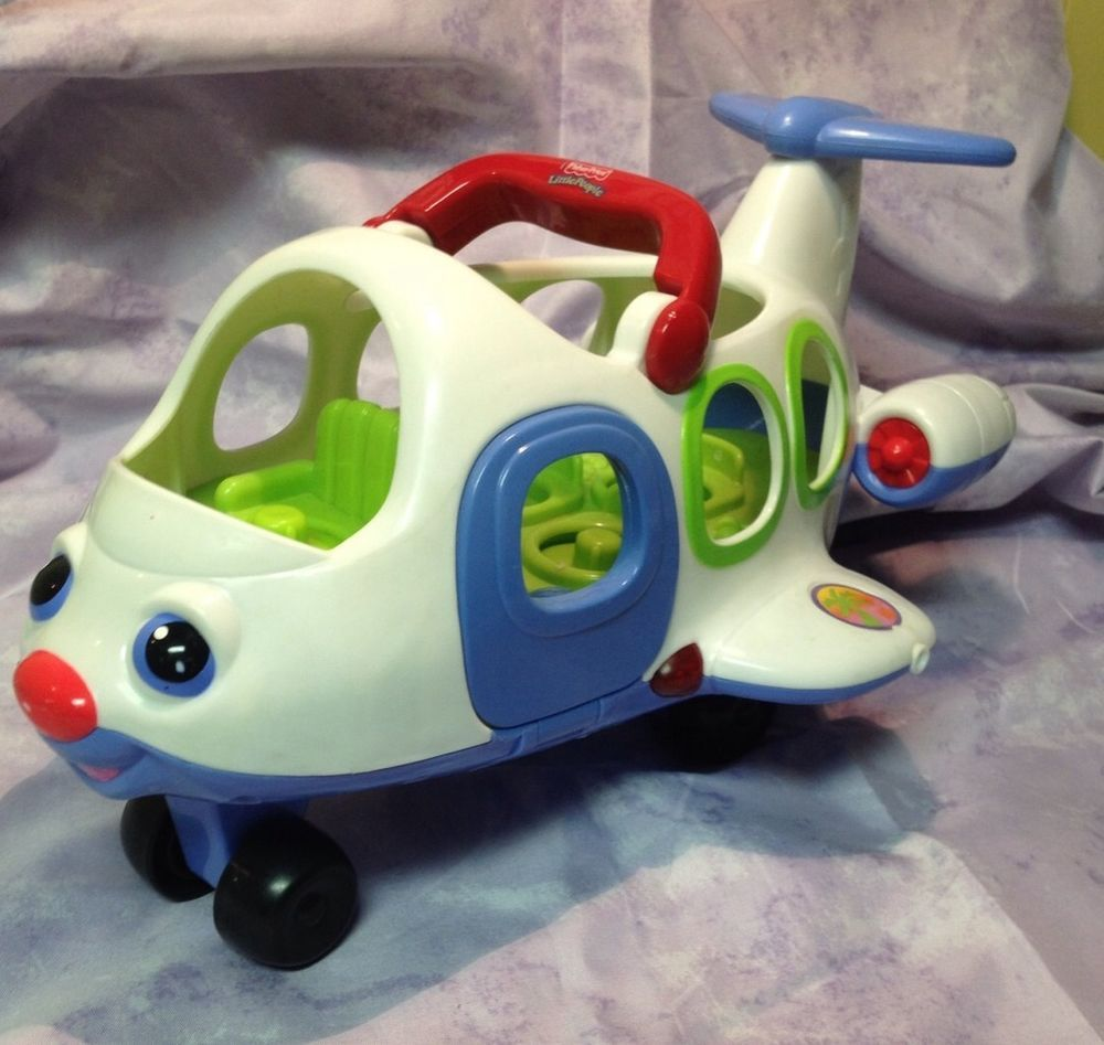 Fisher Price Little People Airplane Only w Sound Music Lights Handle At Top 2005 #FisherPrice