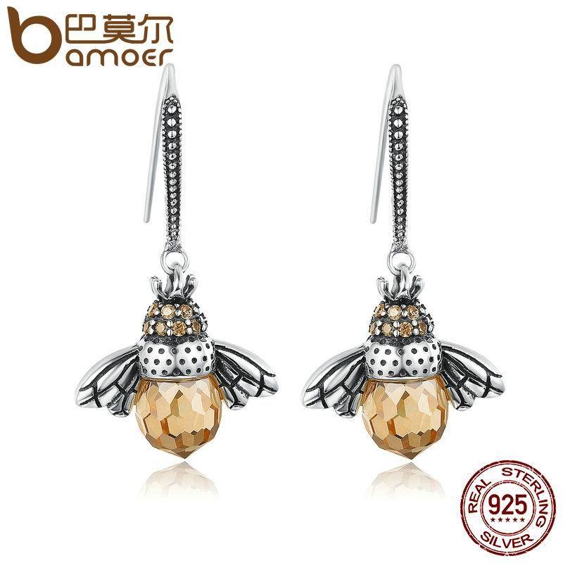 Sterling Silver Honey Bee Drop Earrings bcp3QjL84f