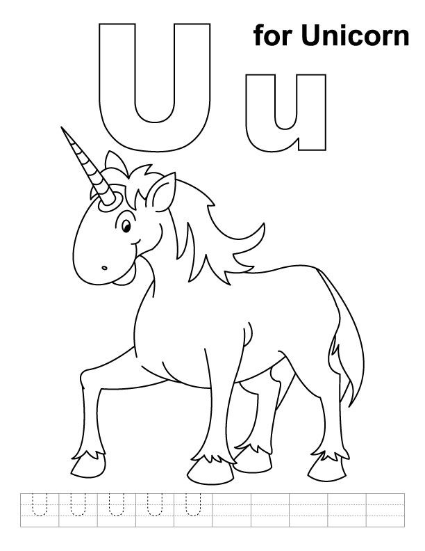U For Unicorn Coloring Page With Handwriting Practice With Images