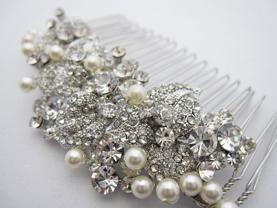 Pearl Bridal Combbridal Hair Comb Crystal And Pearlwedding