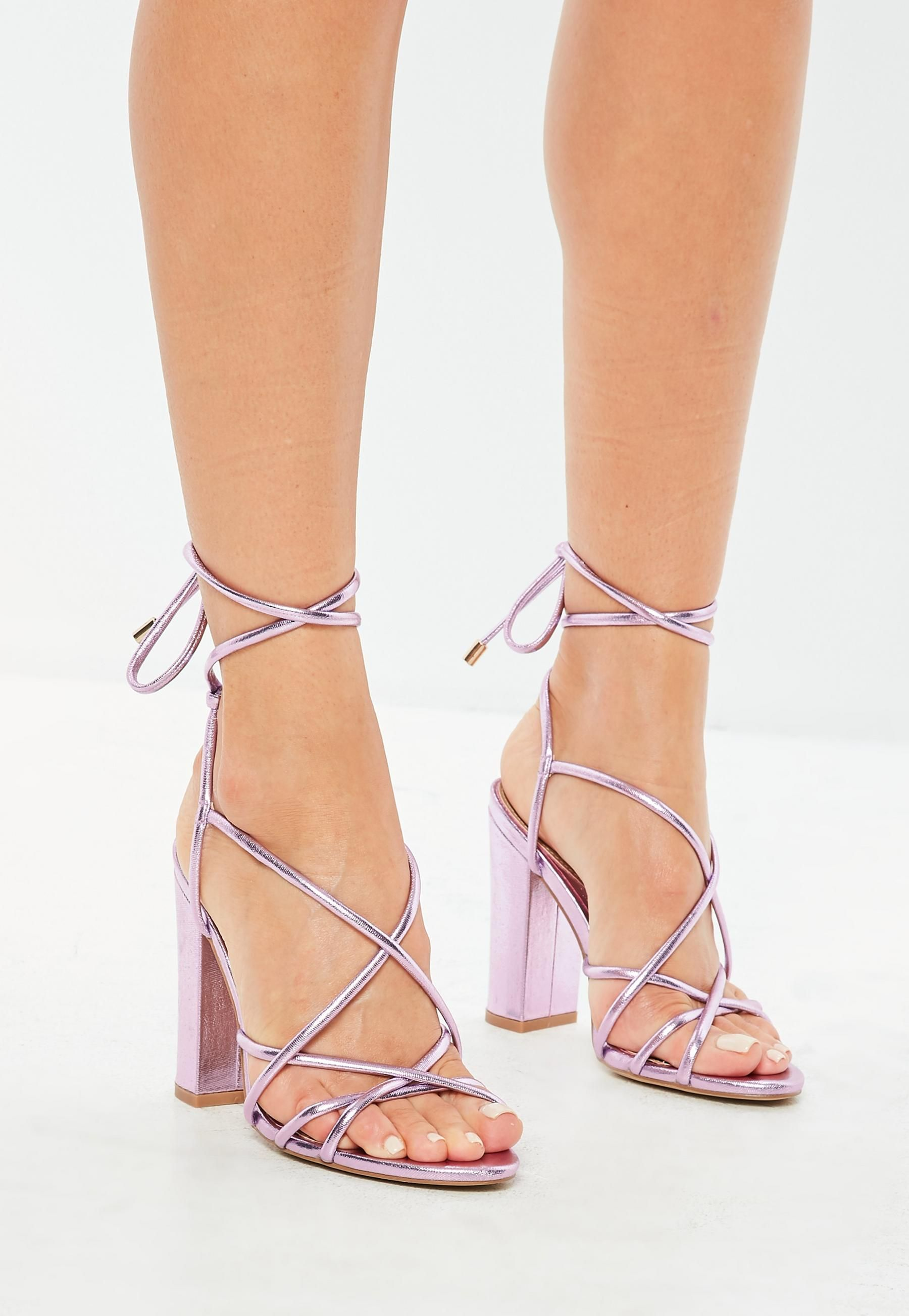 89eb510af2d Pink Metallic Lace Up Block Heeled Sandals | Missguided ...