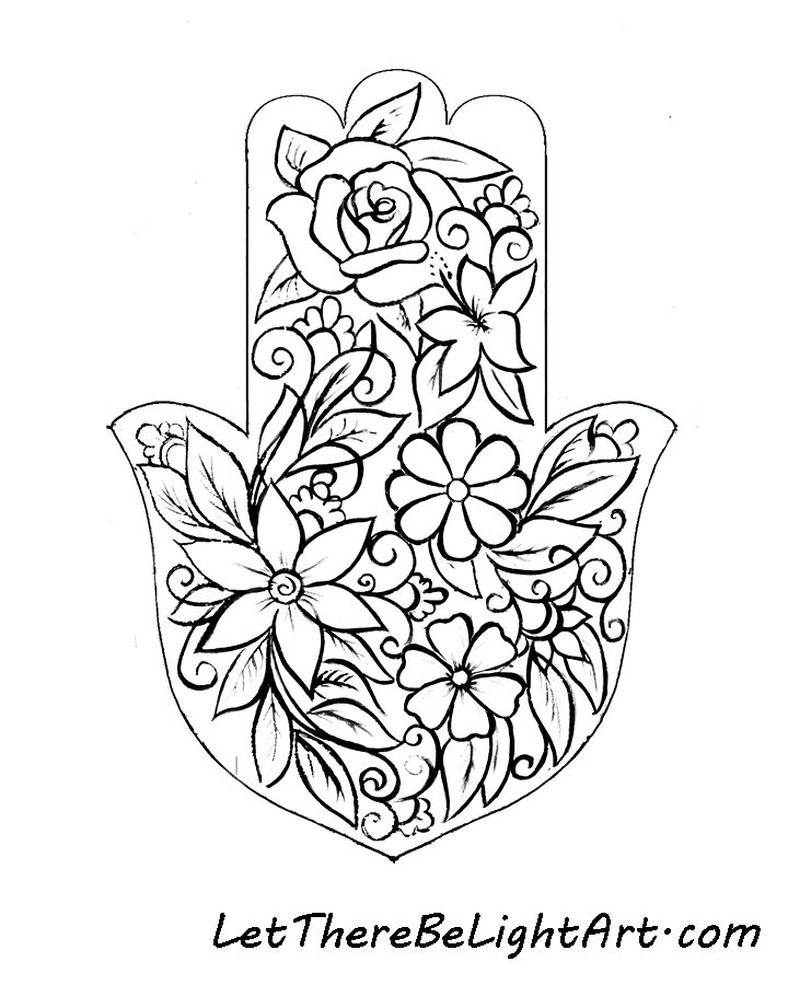Hamsa Flowers Colouring Page 900 X 720 Px Lettherebelightart Com Evil Eye Art Hamsa Coloring Pages