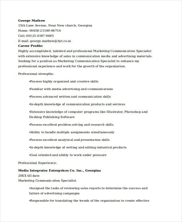 Marketing Communications Specialist Resume , Marketing Resume - communication resume sample