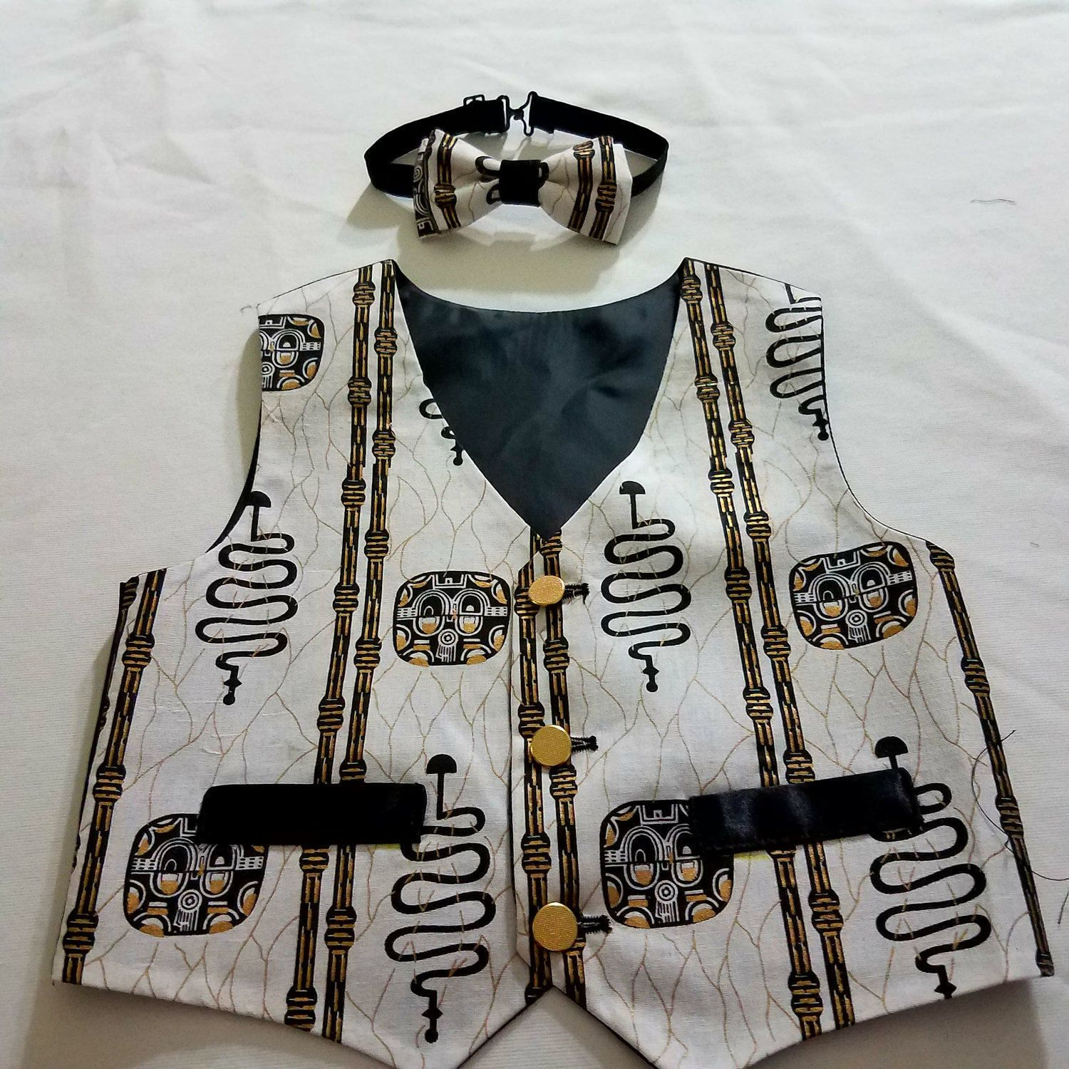 2ec5cd1e4fa1 Boys vest, African print boys vest, white and black vest and bow tie,  Father and son vest set. by VetisDezigns on Etsy