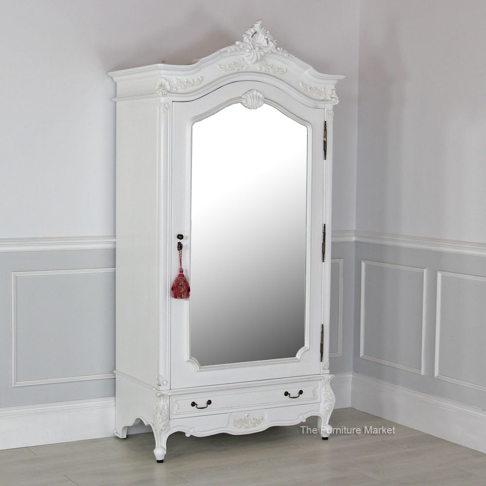 Charmant French Chateau White Painted 1 Door Mirrored Armoire