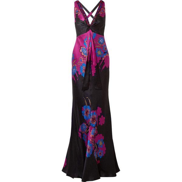 Etro Embellished floral-print silk-satin gown