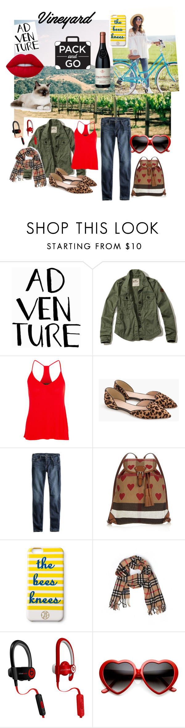 """Kit Cat Pack & Go Vinyard"" by leicklovelife ❤ liked on Polyvore featuring Hollister Co., Enza Costa, J.Crew, Lucky Brand, Burberry, Draper James, Beats by Dr. Dre and Lime Crime"