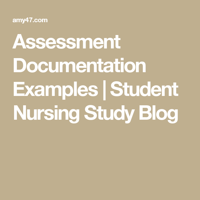 Assessment Documentation Examples  Student Nursing Study Blog