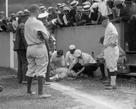 On July 5, 1924 the Washington Senators first baseman Joe Judge hit a fly ball to right field, Ruth ran as hard as he could after the ball that was slicing foul, before Ruth got to the ball he got knocked out when he ran into the concrete wall. There he was the Great Bambino knocked out cold for five minutes. The Babe recovers after Yankees' trainer Doc Woods pours some cold water on his face. The next day in the top of 8th inning Ruth gets his revenge when he hits his 22nd home run of the…