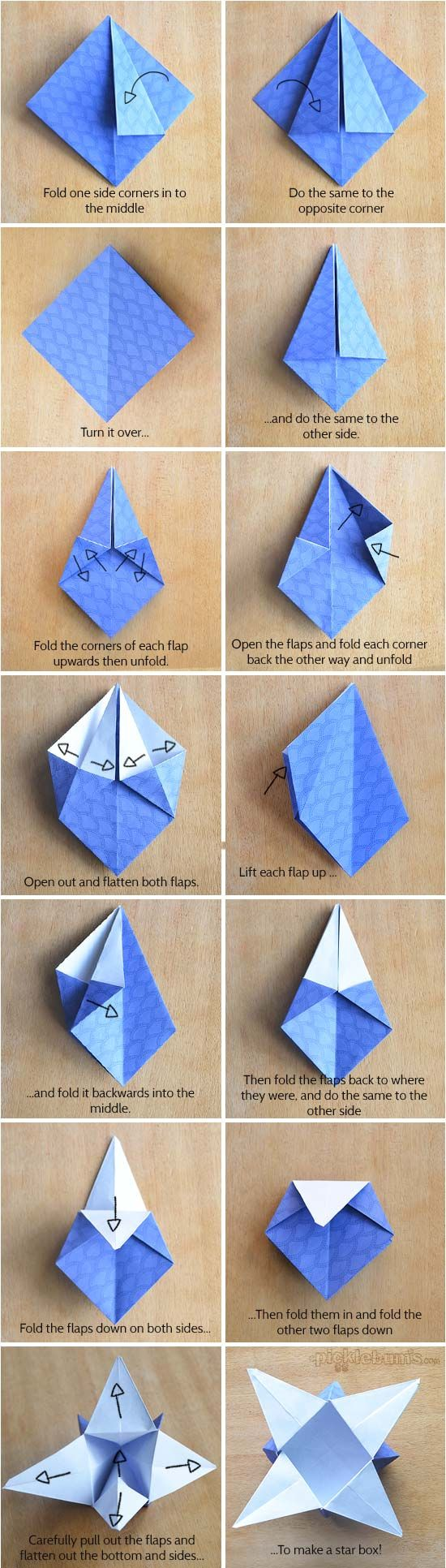 Origami star boxes with printable origami paper origami for How to make a star with paper step by step