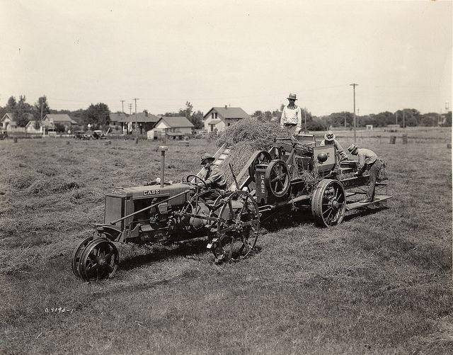 An Old Fashion Case Hay Baler at Work, 1933 | Farming in