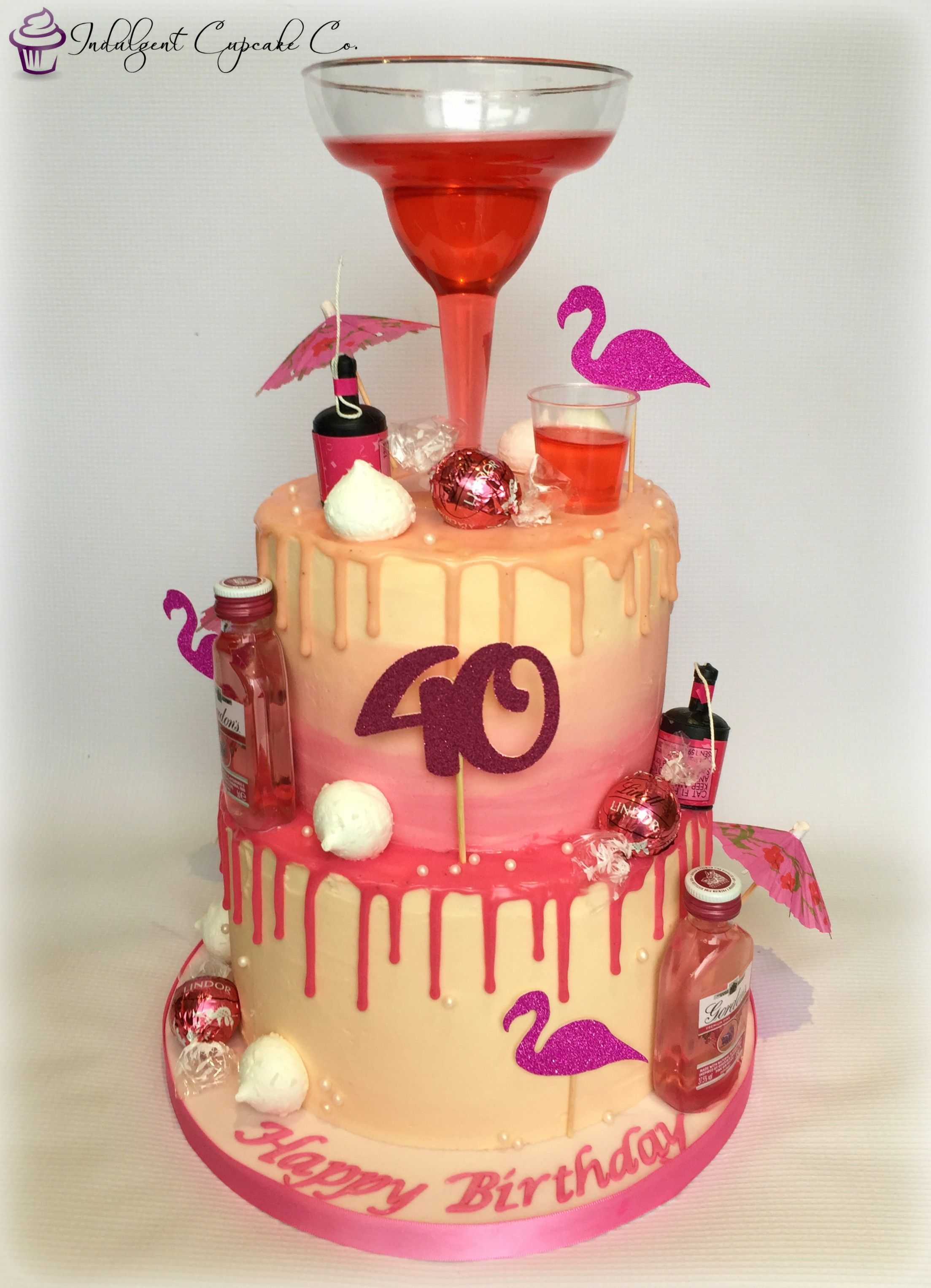 Surprising 40Th Birthday Cocktail Drip Cake With Images Birthday Cards Printable Inklcafe Filternl