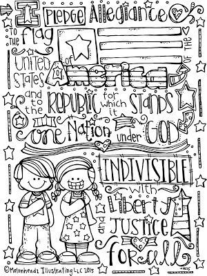 Pledge of Allegiance Coloring Page  Melonheadz Illustrating