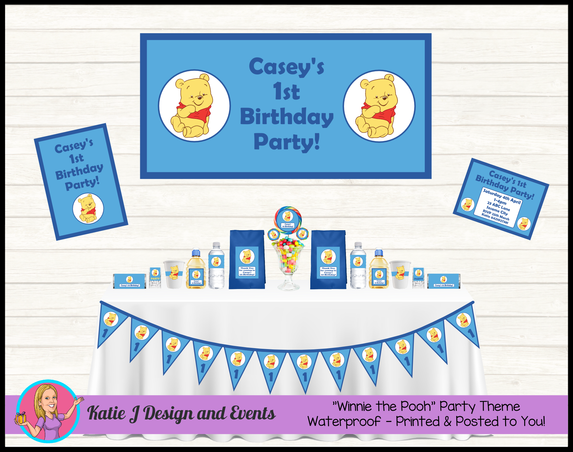 Boys Winnie The Pooh Personalised Birthday Party Decorations Supplies Packs Shop Online Australia Banners Bunting Wall