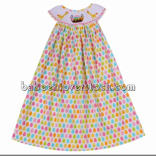 329bd222a Colorful zoo smocked bishop dress