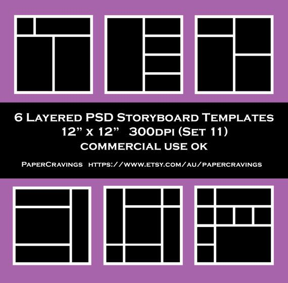 Storyboard Template 12 x 12 Photo Collage psd Commercial Photoshop - photography storyboard template