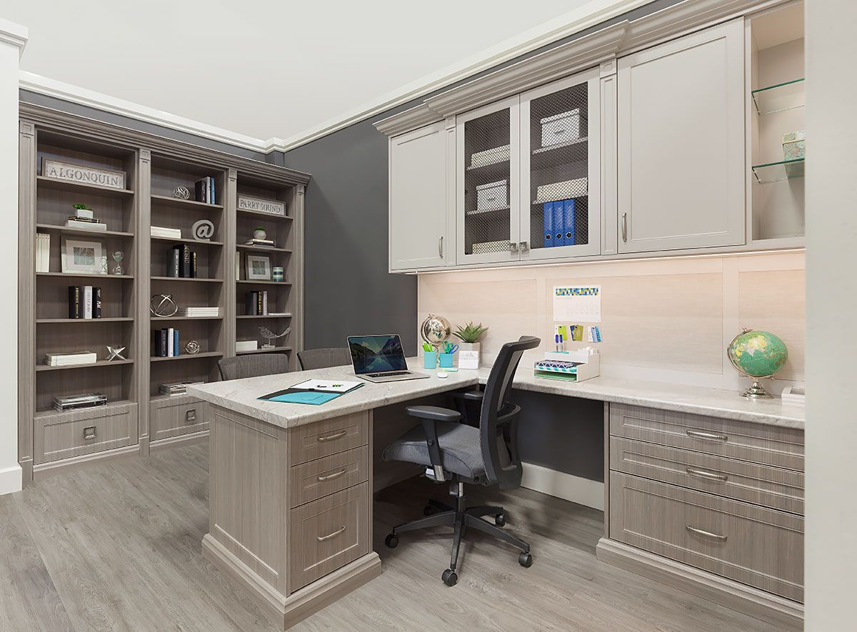 Home Office Ideas With Built In Cabinets Gray Home Offices Home Office Cabinets Office Cabinet Design