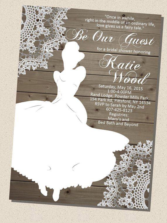 Rustic Wooden Vintage Disney Princess Cinderella Silhouette Bridal Shower Invita Disney Themed Bridal Shower Cinderella Bridal Shower Disney Bridal Showers