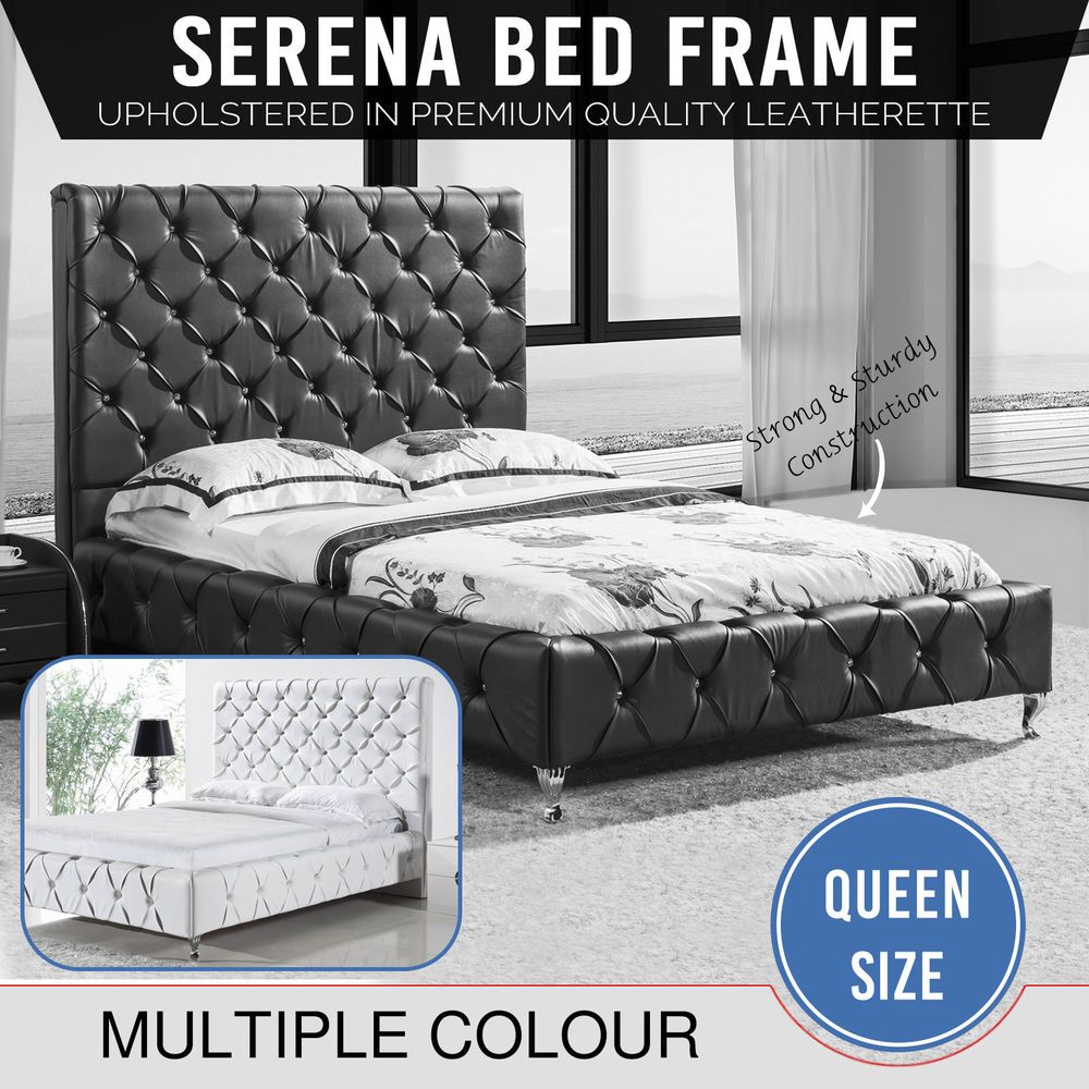 Cheap Beds Melbourne Bed Frame Black White Faux Leather Bentwood Slat Metal Frame Queen
