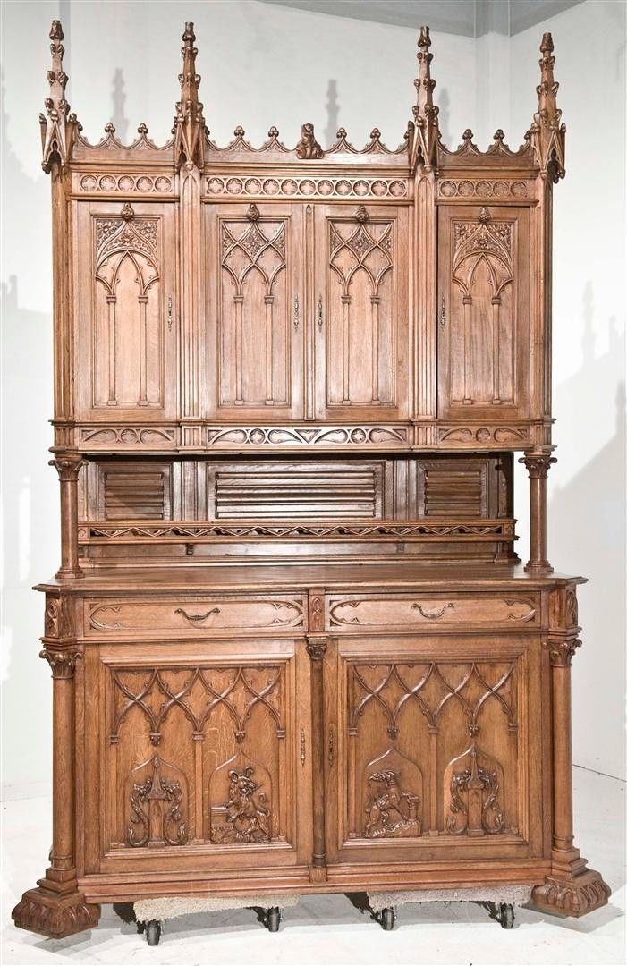 French Gothic Cabinet In Oak Massive Size Wonderful Quality 19th Century Ebay Neo Gothique Meubles Gothiques Renaissance Italienne
